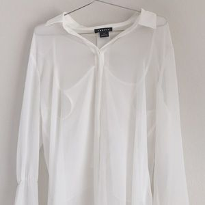 Trouve Tops - Trouve Sheer White Long Sleeve Top
